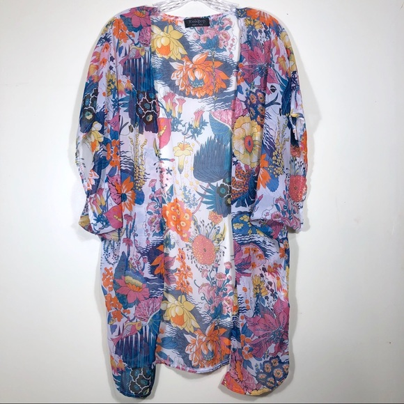 d064c4e675 Sheer lotus flower kimono coverup with open front.  M_5c9b580d3e0caaaccb93494f